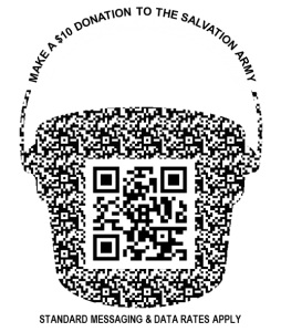 "Scan this code to make a ""text-to-give"" donation via your mobile device"