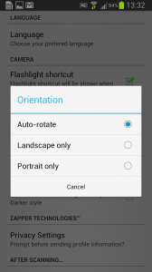 From Setting, tap on Camera Orientation to make changes.
